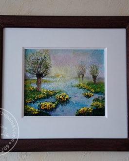 """Obraz olejny """"Wierzby na rozlewisku"""" 40×30 cm"""