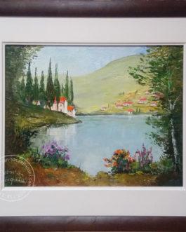 "Obraz olejny ""Willa D'este nad jeziorem Como"" 50×40 cm"