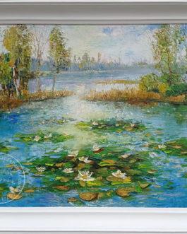 """Obraz olejny """"Nenufary"""" 73×54 cm"""