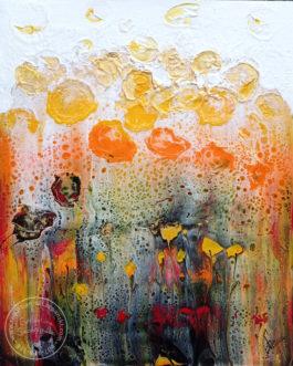 """Obraz akrylowy wylewany """"Bajkowa łąka"""" 40×50 cm"""
