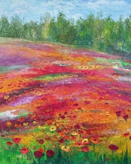 """Obraz olejny """"Symfonia kwiatowa""""  99,5×79,5 cm"""